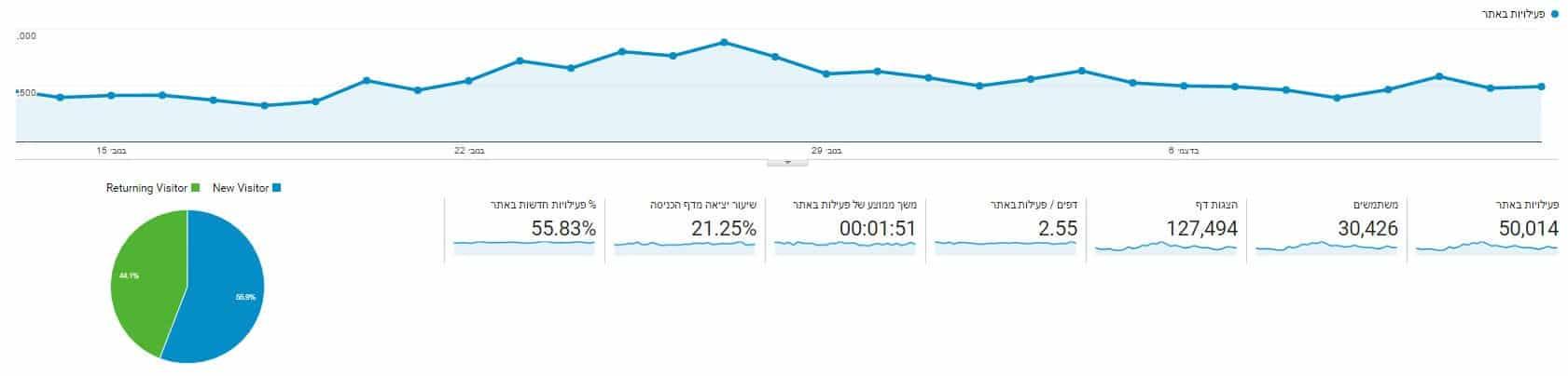 סטטיסטיקה גוגל אנליטיקס